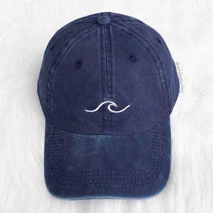 Blue denim ocean wave embroidered baseball hat